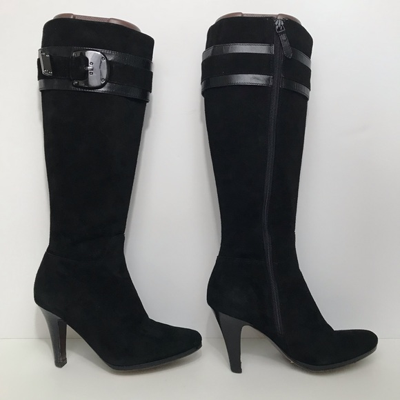 Nicole Black Suede Leather Boots Buckle
